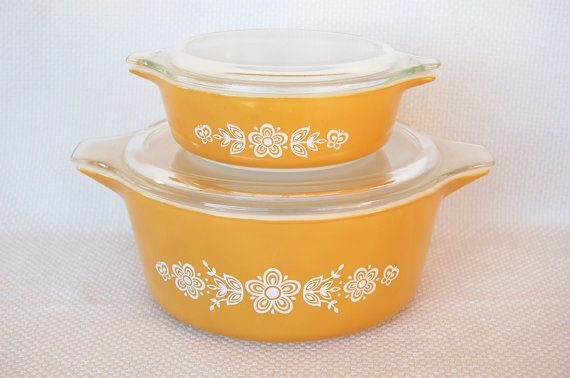 Set of 2 Vintage Pyrex Butterfly Gold 471  and 475 Bake Serve Store Casseroles on Etsy, $30.00