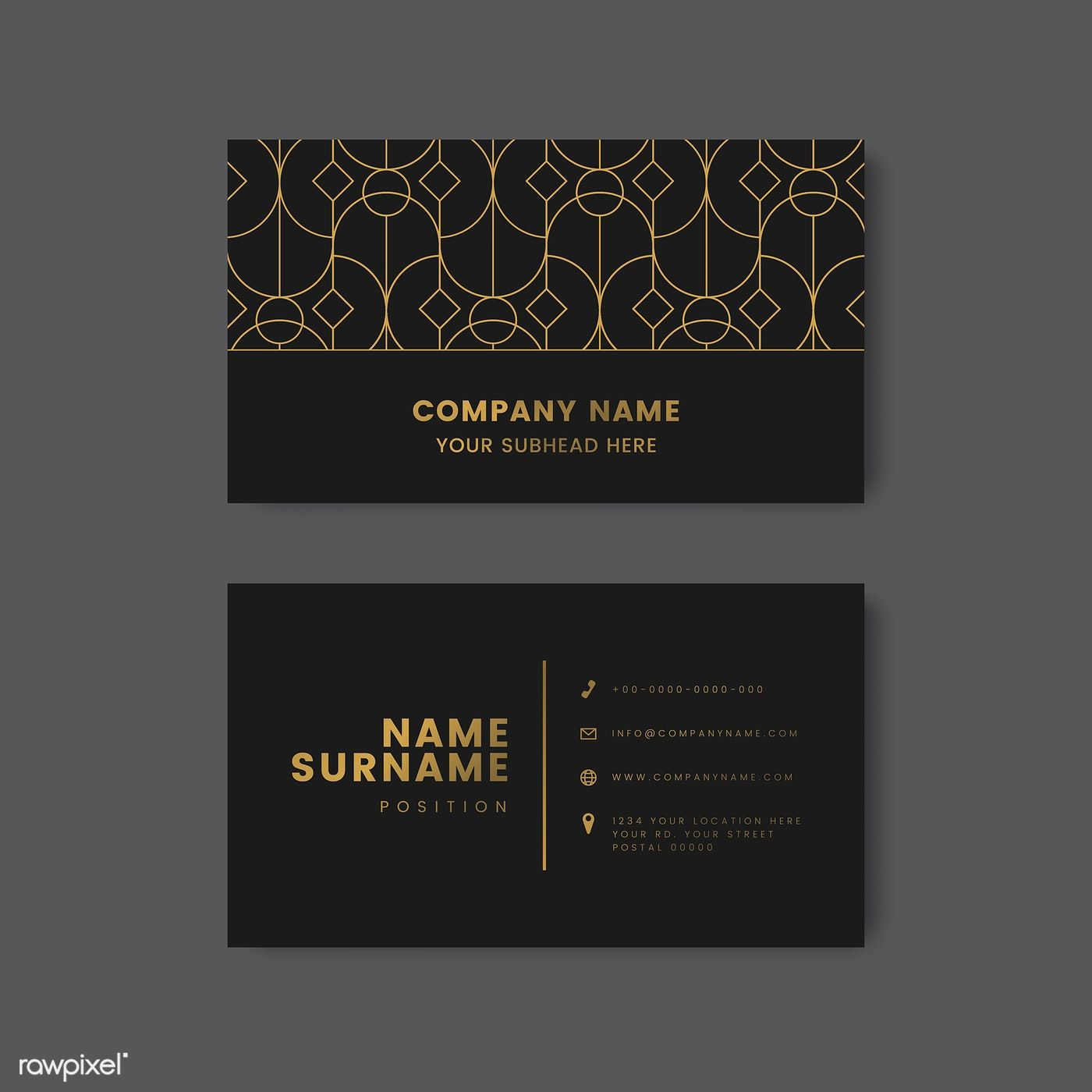 Golden Geometric Pattern On Black Business Card Vector Free Image By Rawpixel Com Man Vector Business Card Black Business Card Graphic Design Business Card