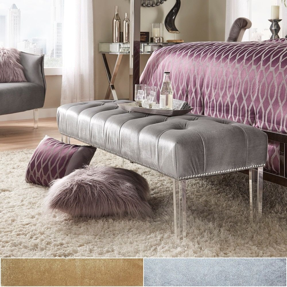 Anya Velvet Nailhead Button Tufted Acrylic Leg Bench by INSPIRE Q