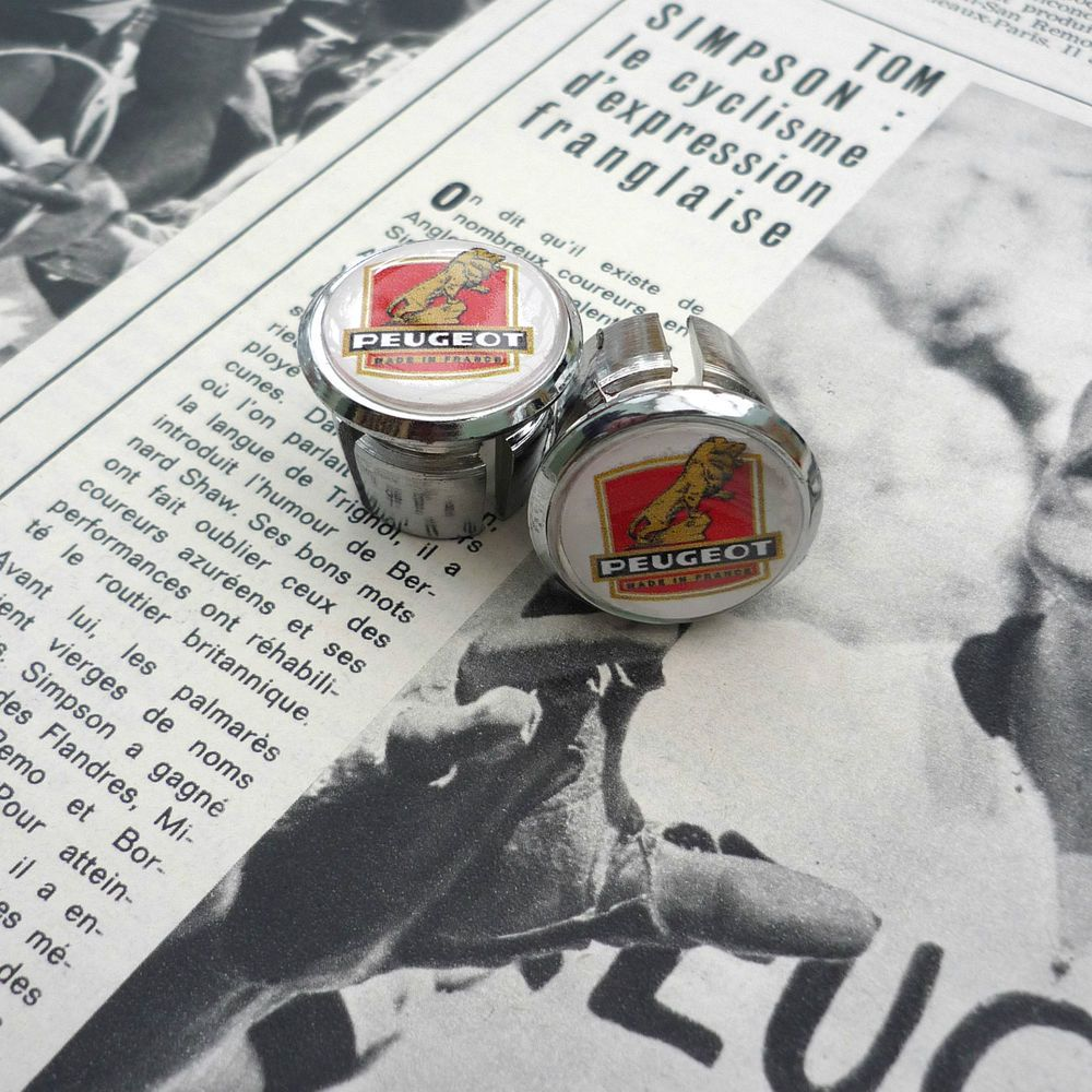 Caps Vintage Style TI Raleigh Team Chrome Racing Bar Plugs Repro