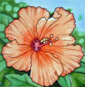 Decorative 4X4 Ceramic Tiles Gorgeous Hibiscus Flower Decorative Ceramic Wall Art Tile 4X4  Ceramic Decorating Design