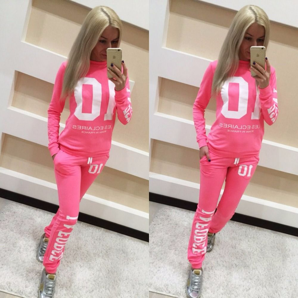 New Women women Suit Pullover Letter Pink Print Tracksuit Hoodies ...
