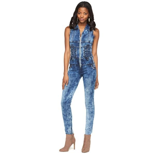 Denim Daytripper Acid Wash Zip-Up Jumpsuit