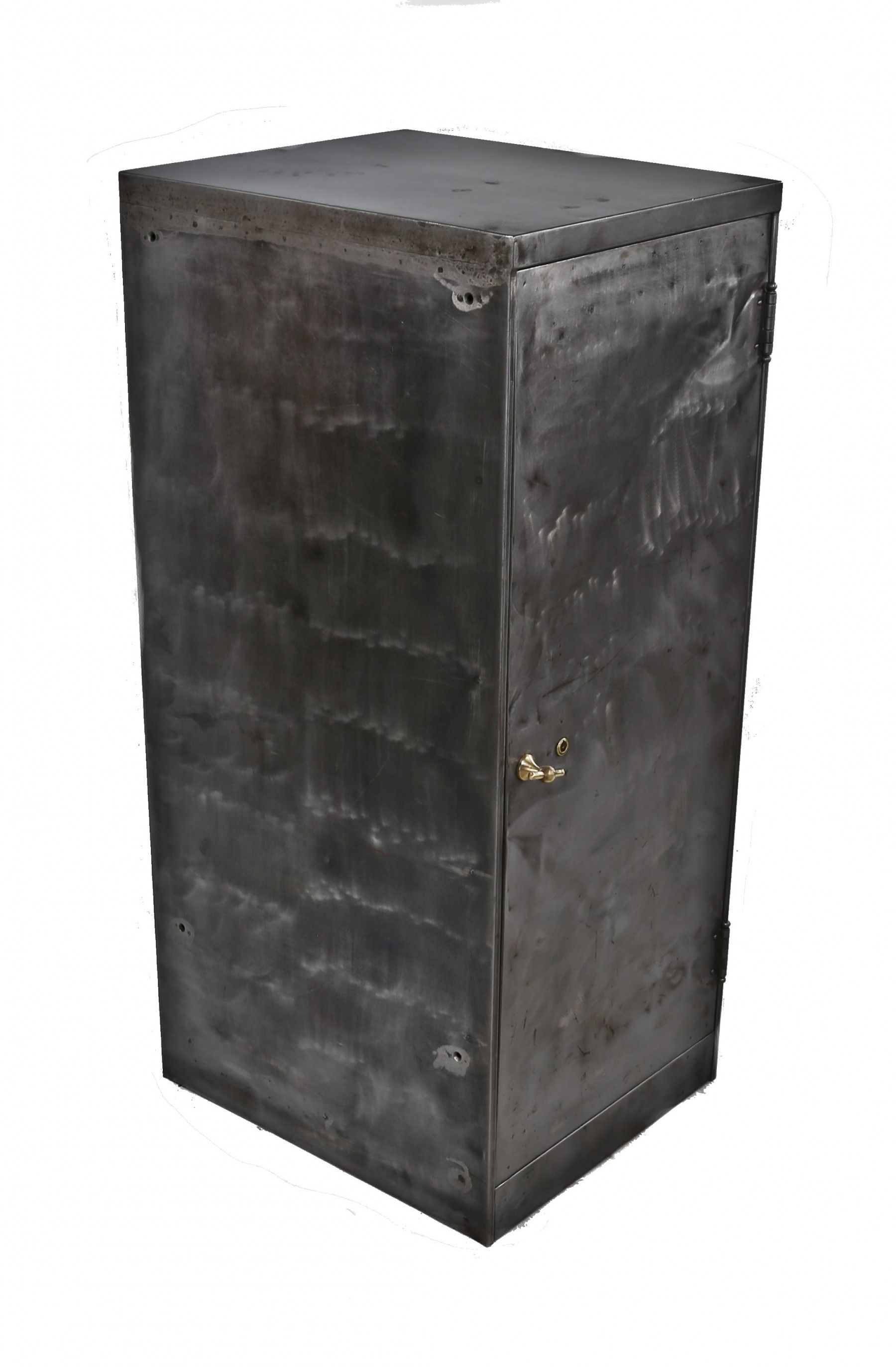 Oversized C 1920 S Refurbished American Antique Industrial Freestanding Single Door All Metal Lock Box Cabinet With Fanciful Cast Brass T Handle Single Doors American Antiques Metal Trunks