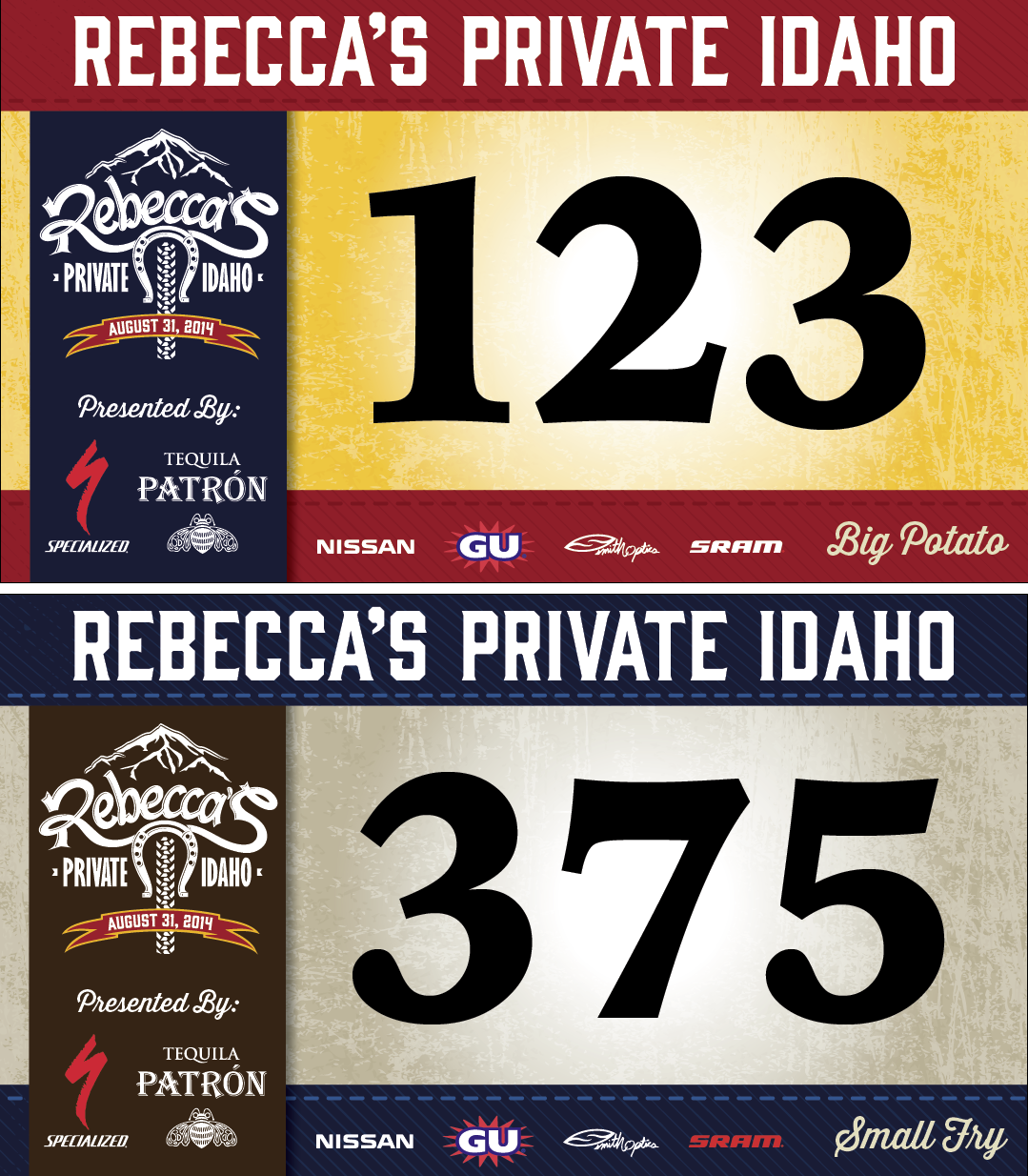 Number plates for Rebecca's Private Idaho 2014 Number
