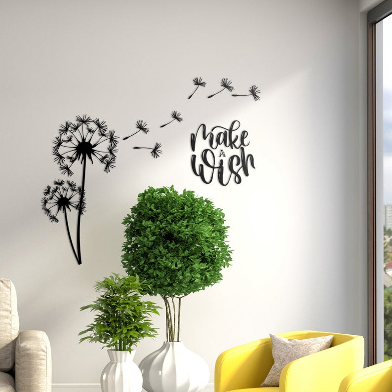 Dandelion Make A Wish Metal Wall Art Decor Decoration For
