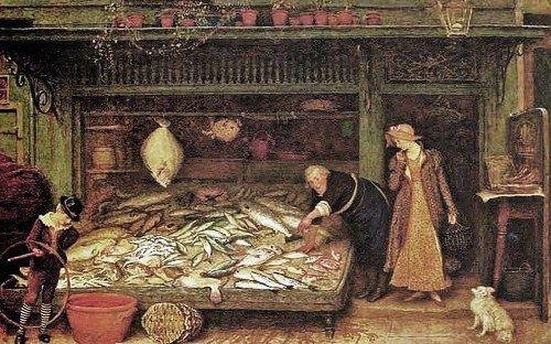 Frederick Walker (English artist, 1840-1875) At the Fishmonger's Shop c 1872