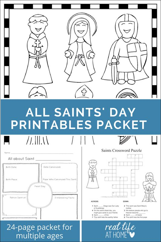Saints Printables And Worksheet Packet All Saints Day Printables Religious Day Coloring Sheets