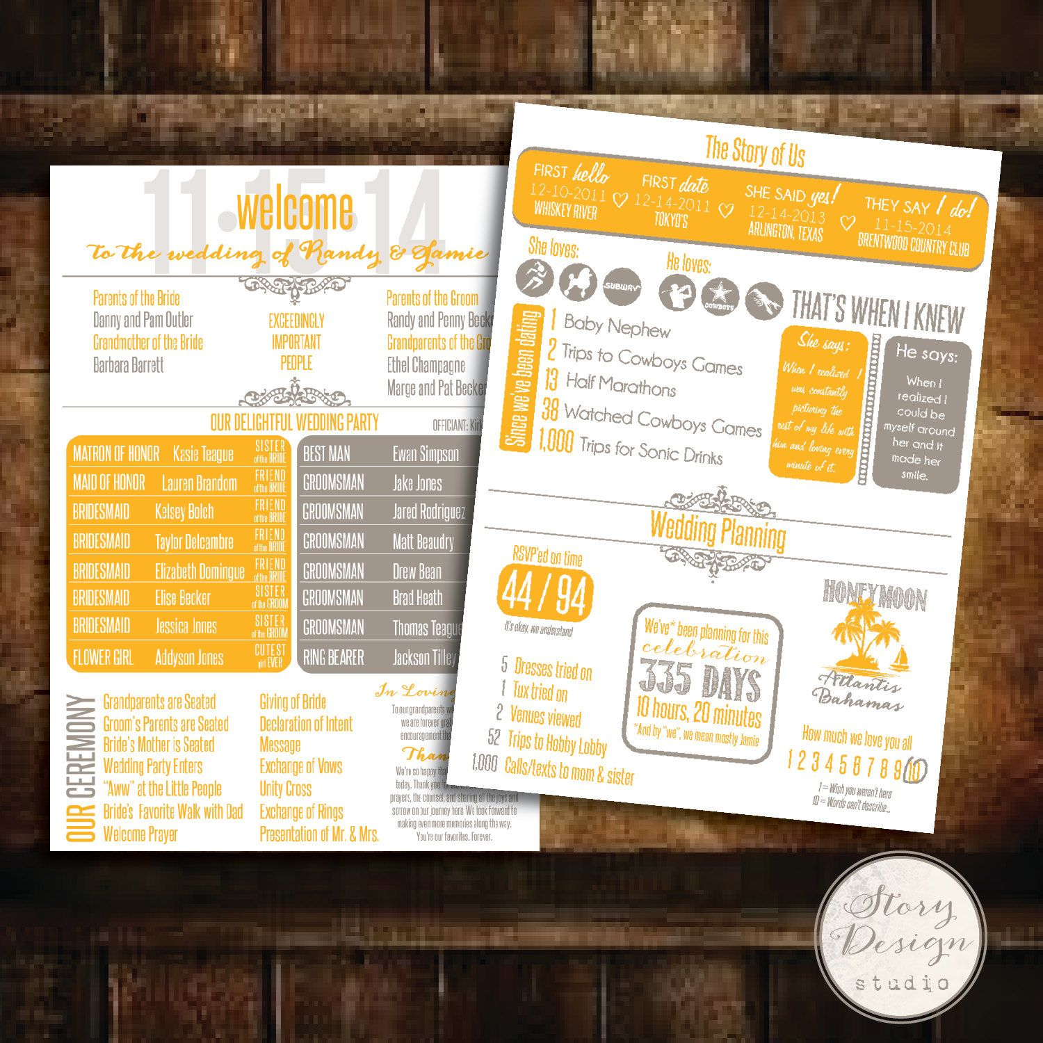 Custom Infographic Wedding Program