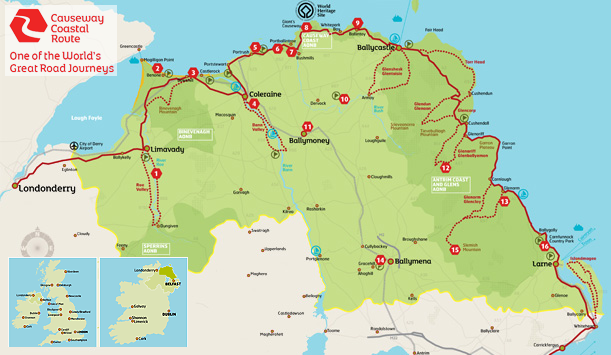 Road Map Of Ireland And Northern Ireland.Causeway Coastal Route Travel Ireland Northern Ireland