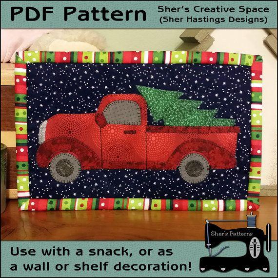 Vintage Red Truck Christmas Placemats.Pdf Pattern For Perfect Christmas Tree Mug Rug Christmas