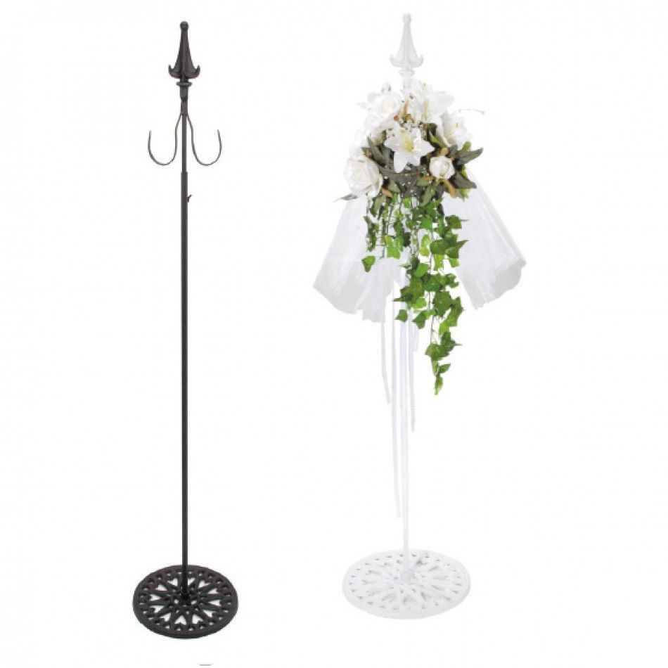 White Adjustable 38 -60 Shepherds Hook (Free Standing Stanchion w ...