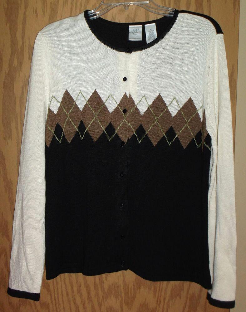 Emma James Argyle Diamond Dressy Cardigan Sweater~Medium~Black ...