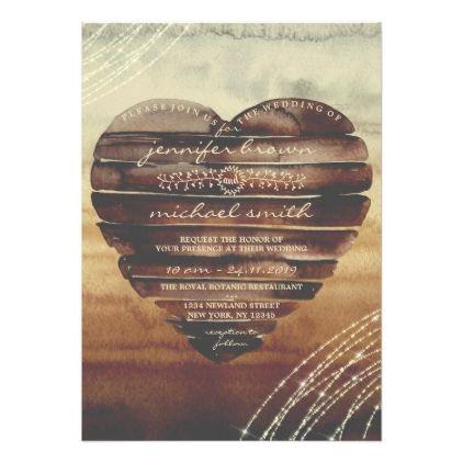 Rustic Wedding Invitation With Wood Heart Zazzle Com In