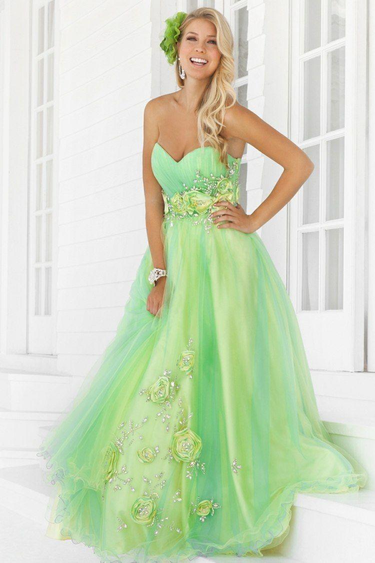 gelb-grünes kleid mit rosen besetzt | abendkleid, grünes