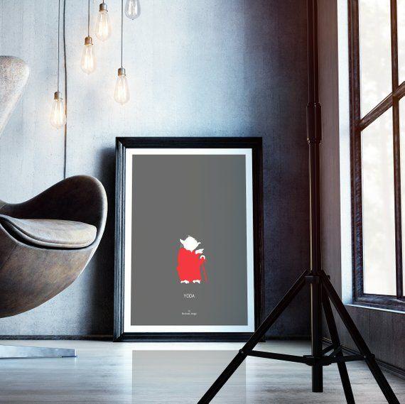 Yoda minimalist movie poster star wars print jedi master mentor teacher wall decor   also rh pinterest