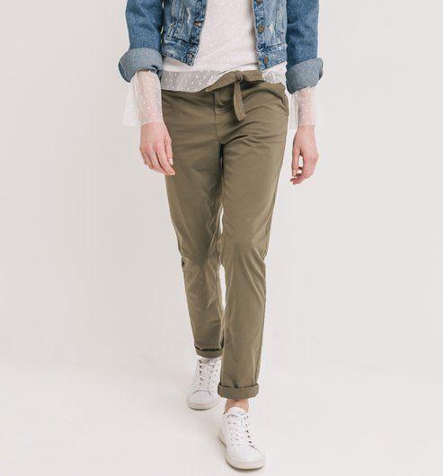 1c2532cf3e226c Pantalon en toile Femme kaki - Promod | tenue pantalon kaki ...