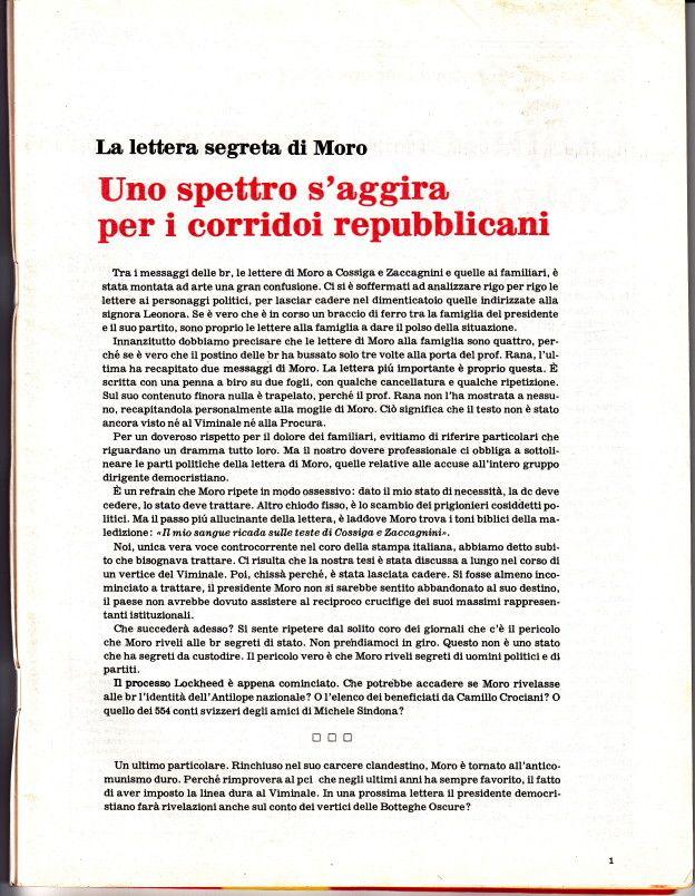 Editoriale di OP settimanale n. 4. La lettera segreta di Moro - Uno spettro s'aggira per i corridoi repubblicani