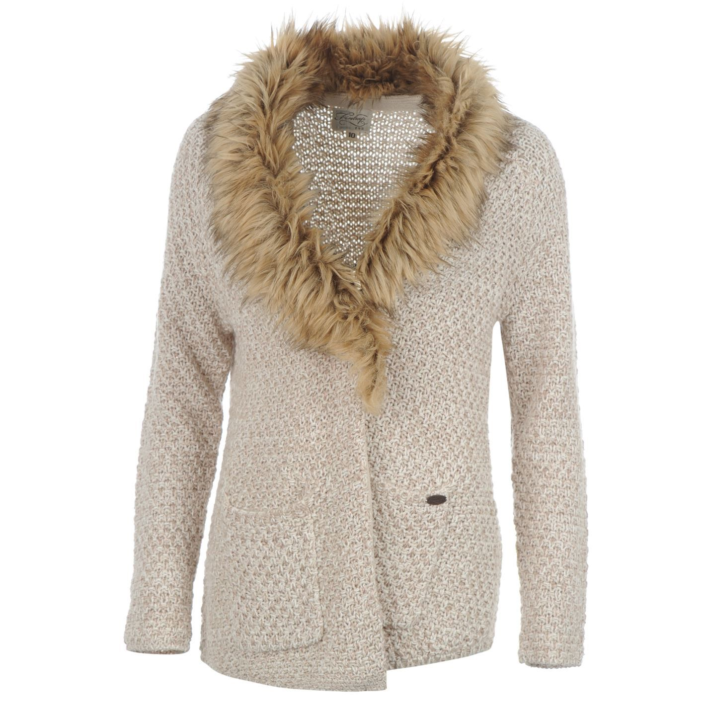 Firetrap | Firetrap Fur Collar Knitted Cardigan Ladies | Ladies ...