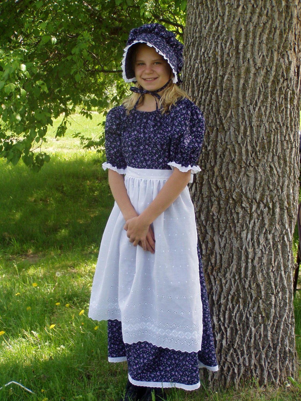 Pioneer Clothing | Girls Pioneer Prairie Colonial Dress Costume by ...
