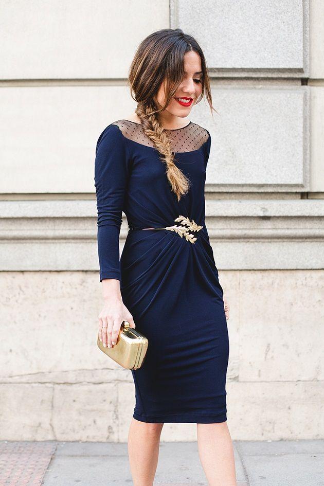Vestido azul marino para fiesta de dia