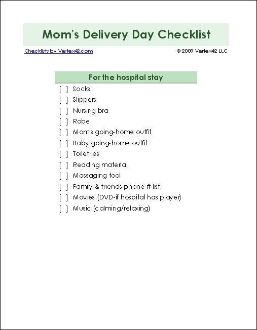 MomS Delivery Day Checklist  Kids    Baby Checklist