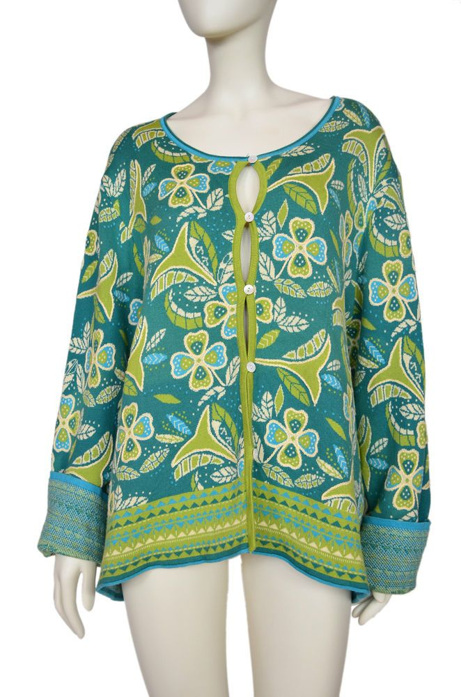 GUDRUN SJODEN Cardigan Sweater Floral XXL in Clothes, Shoes & Accessories, Women's Clothing, Jumpers & Cardigans | eBay!