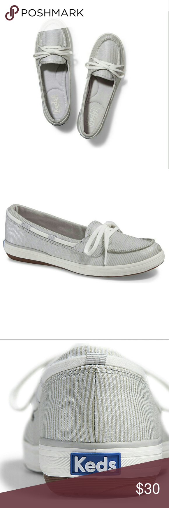 87491918b6 Brand New Keds Metallic Glimmer Stripe Boat Shoes These gorgeous boat shoes  have metallic silver stripes. Brand new -- I ordered them online, ...