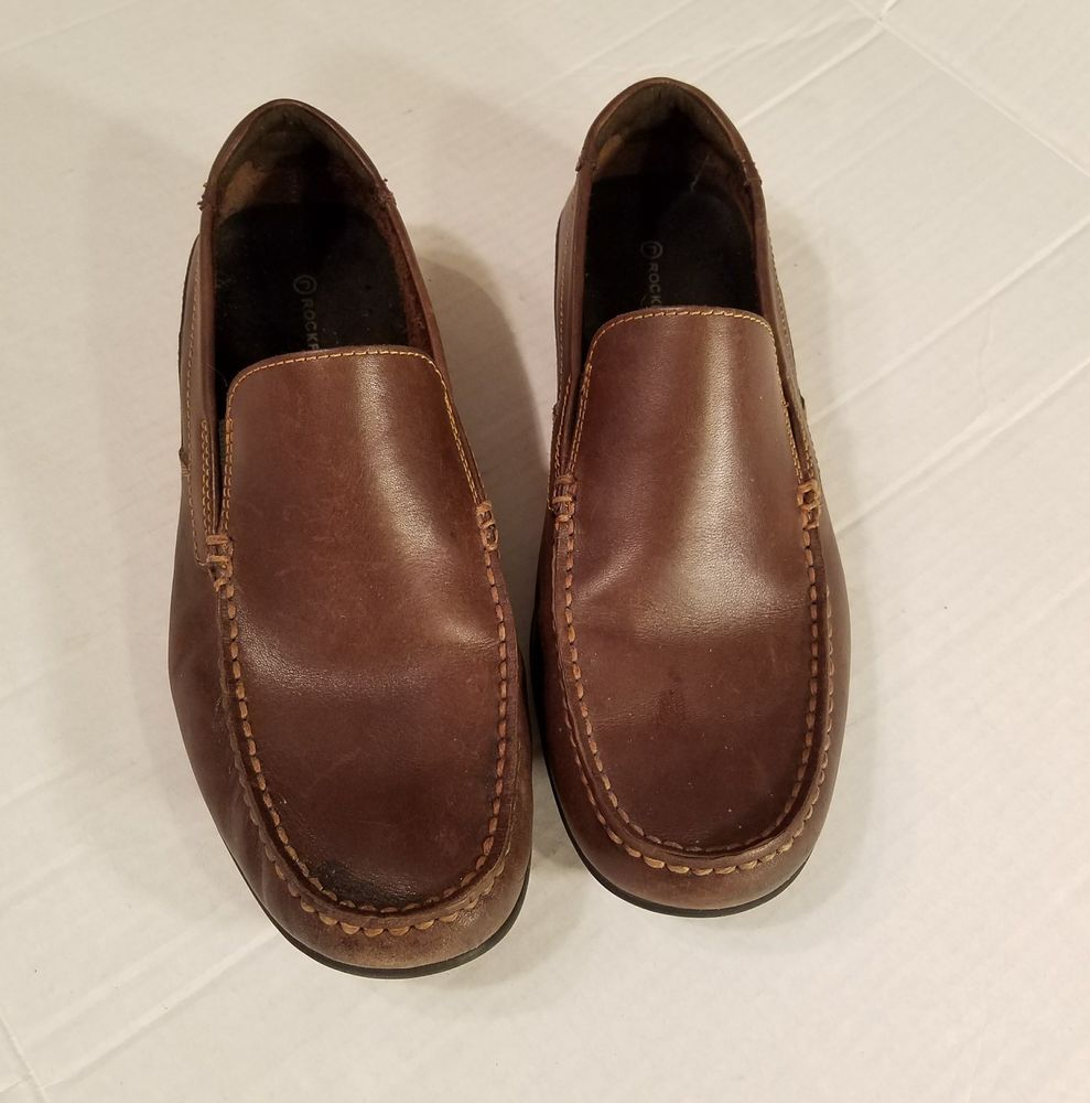ROCKPORT Mens sz 10M K51145 CAPE NOBLE DARK BROWN Leather Slip On Loafers