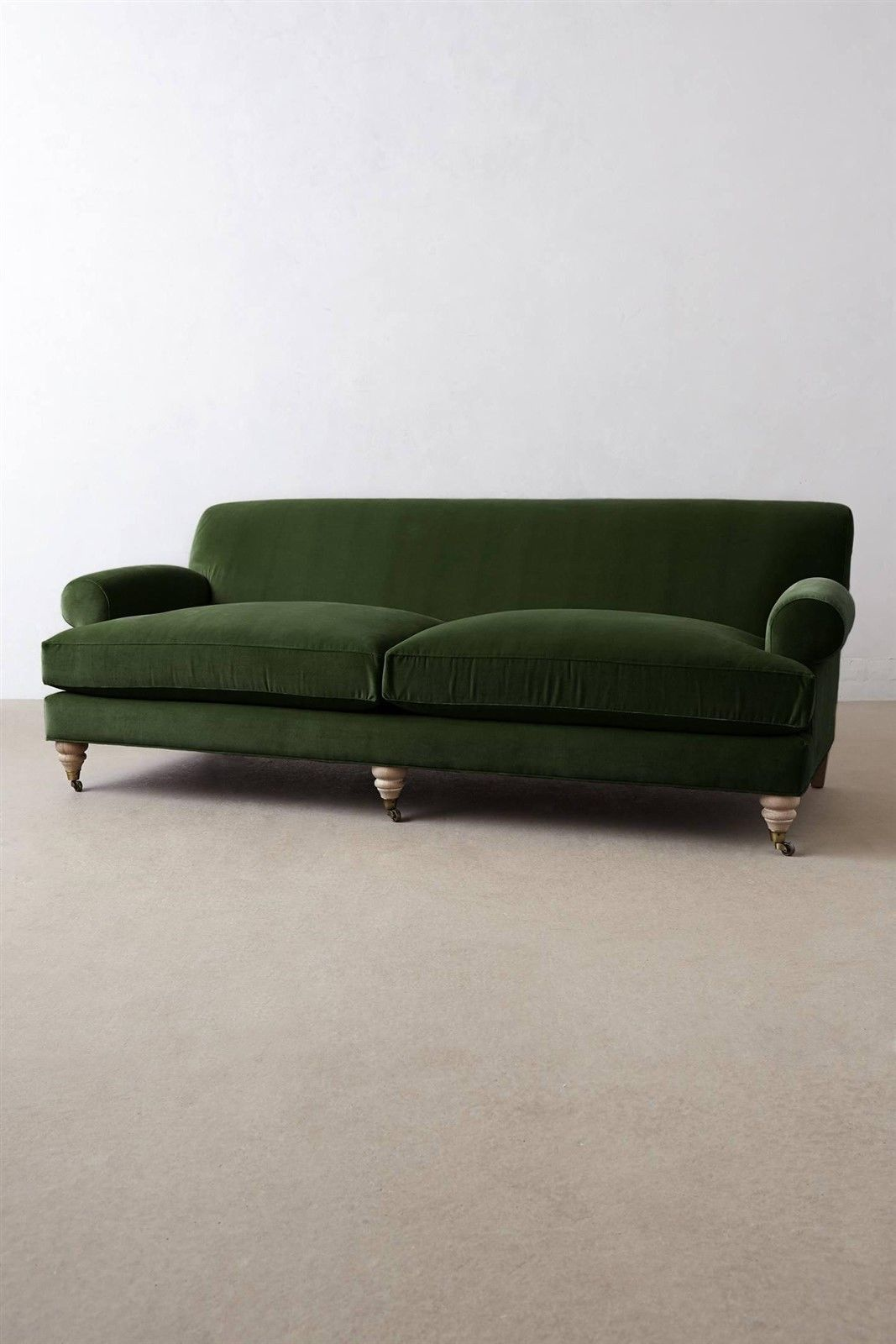 Velvet Couch Sofa Settee English Arms Rolled Emerald Green