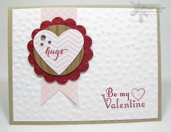 "Banner Hugs Valentine's Day The Big Shot, Delightful dots embossing Folder, Full Heart Punch, rhinestones, 2 3/8"" Scallop Circle Punch, 1 3/4"" Circle Punch"