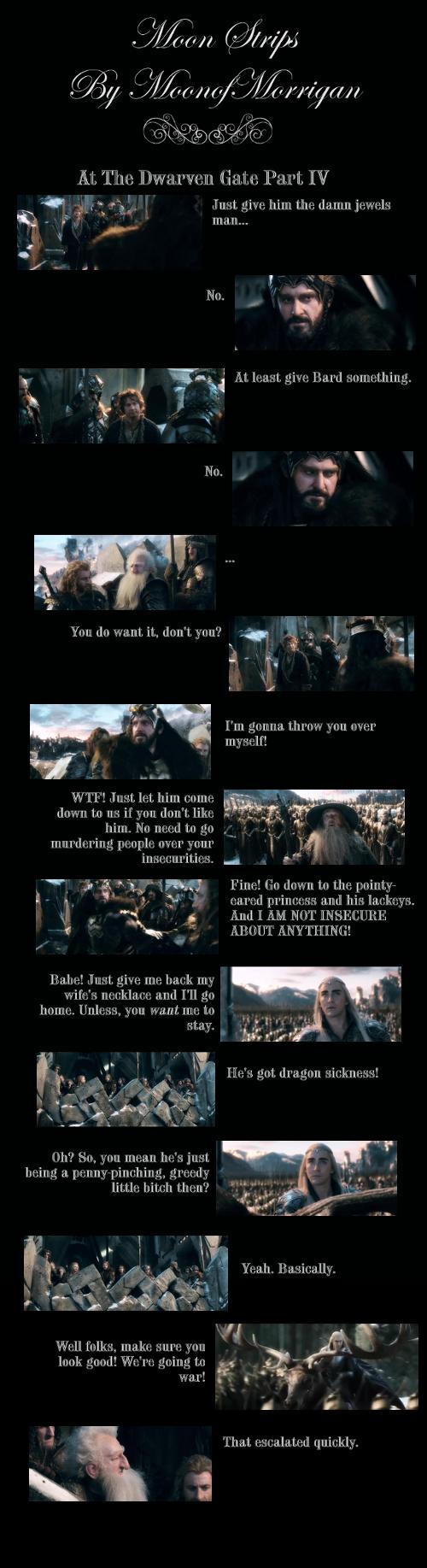 """At the Dwarven Gate 4"" #moonstrips #thorin #thranduil #thehobbit #bilbo #gandalf"