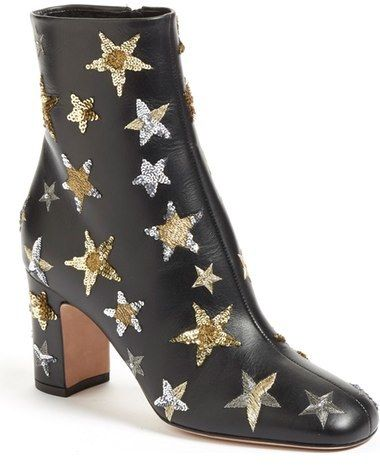 """Valentino 'Star Studded' Bootie (Women) - A bold wrapped heel grounds a beautifully supple, jet-black leather bootie spangled in shimmering, sequined stars. 3"""" heel; 6"""" boot shaft (size 38.5). Side zip closure. Leather upper, lining and sole. By Valentino; made in Italy. Salon Shoes."""