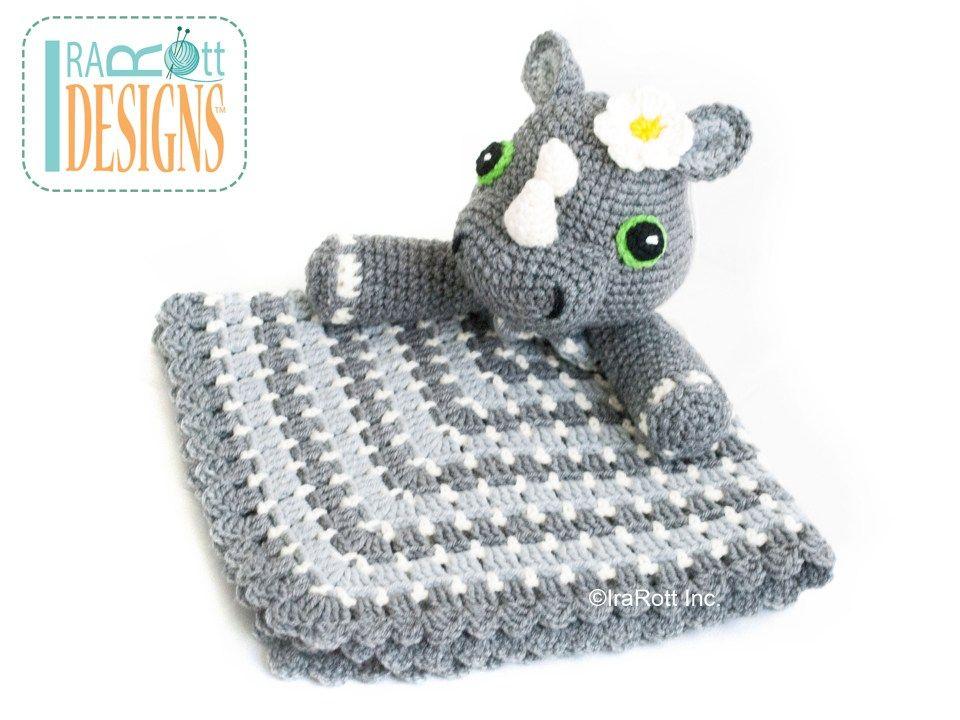 Riley Rhino the Rhinoceros Snuggle Security Blanket PDF Crochet ...