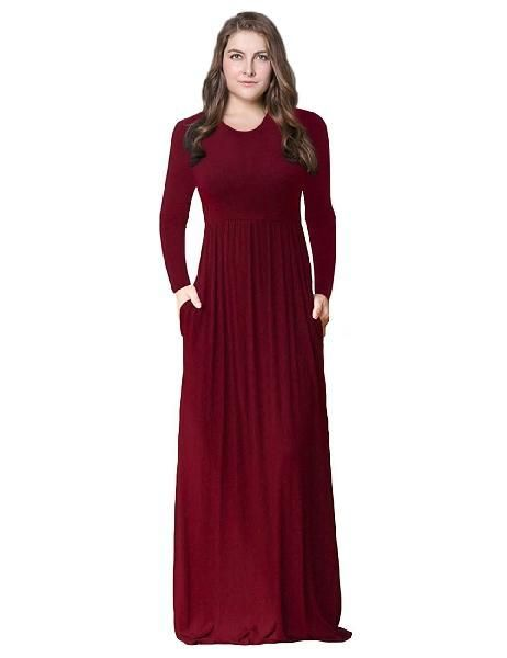14d4eb40fa6 Plus Size Solid Casual simple Long Sleeve Maxi Dress