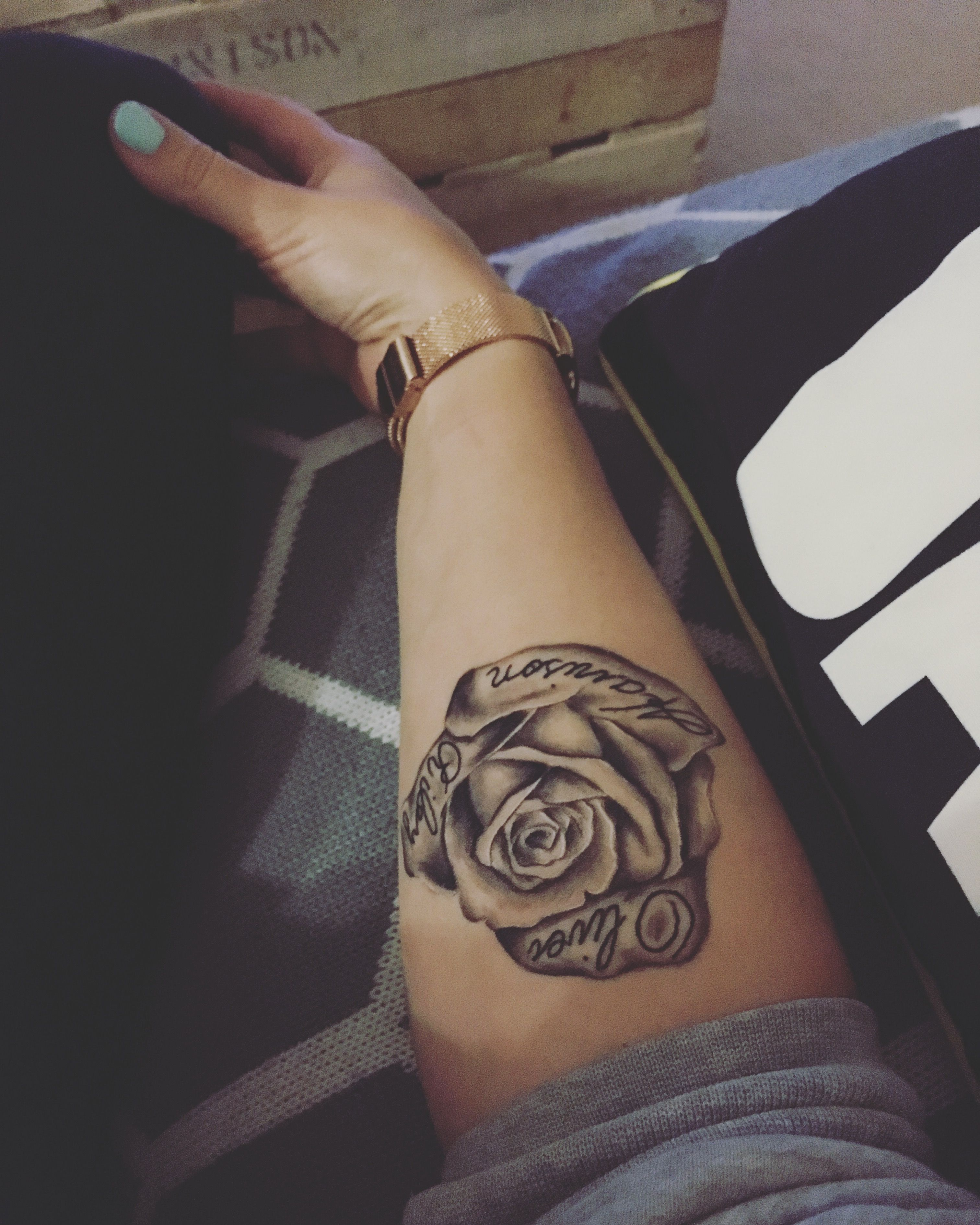 Forearm Rose Tattoos On Arm With Name Best Tattoo Ideas