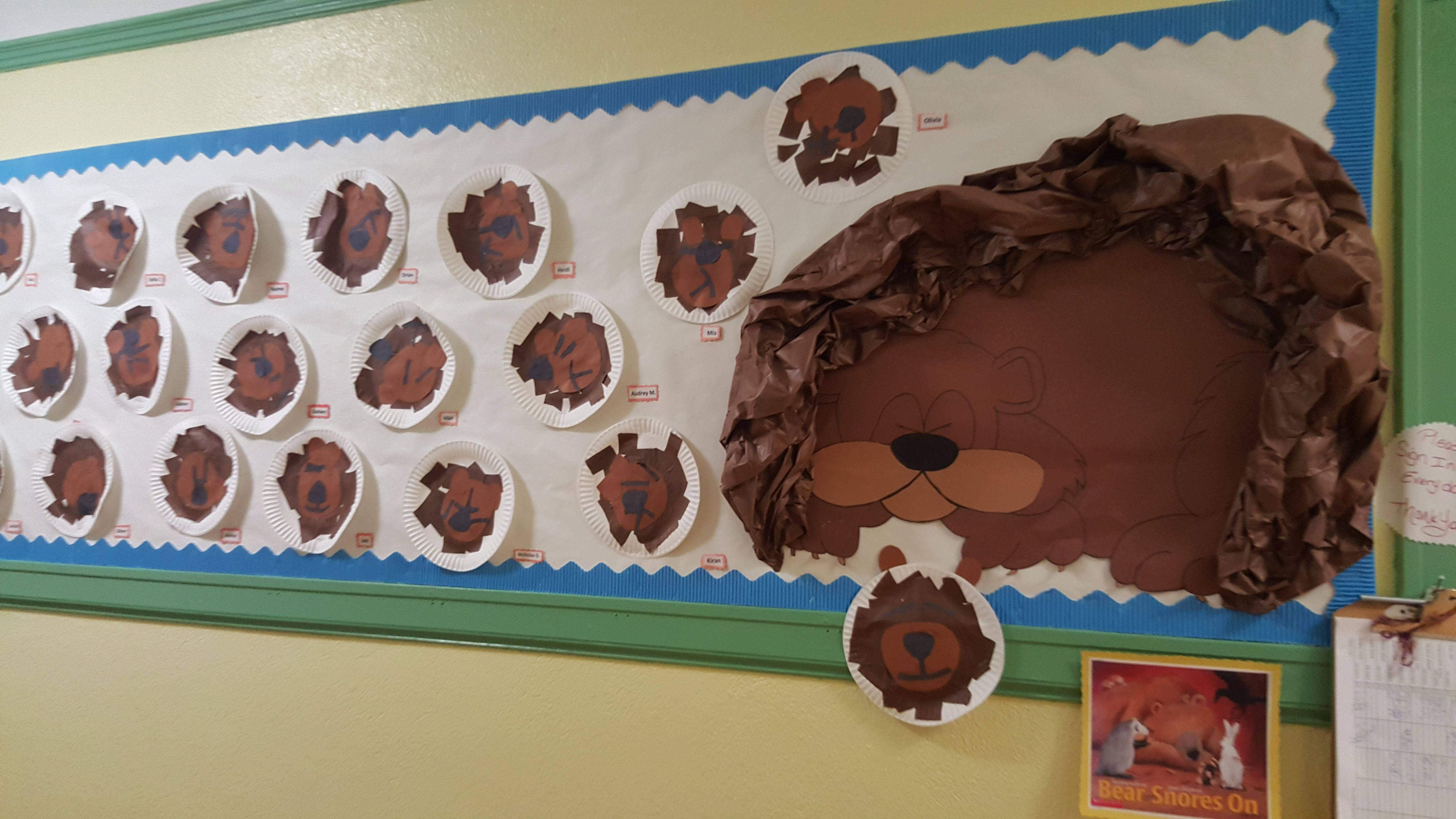 Hibernation Bulletin Board With The Book Bear Snores On
