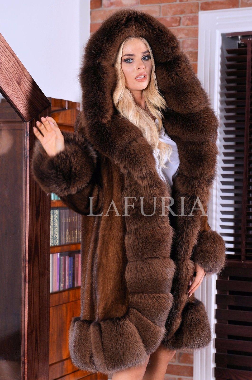 New Brown Superior Saga Mink Fur Coat Fox Hood Class Of Sable