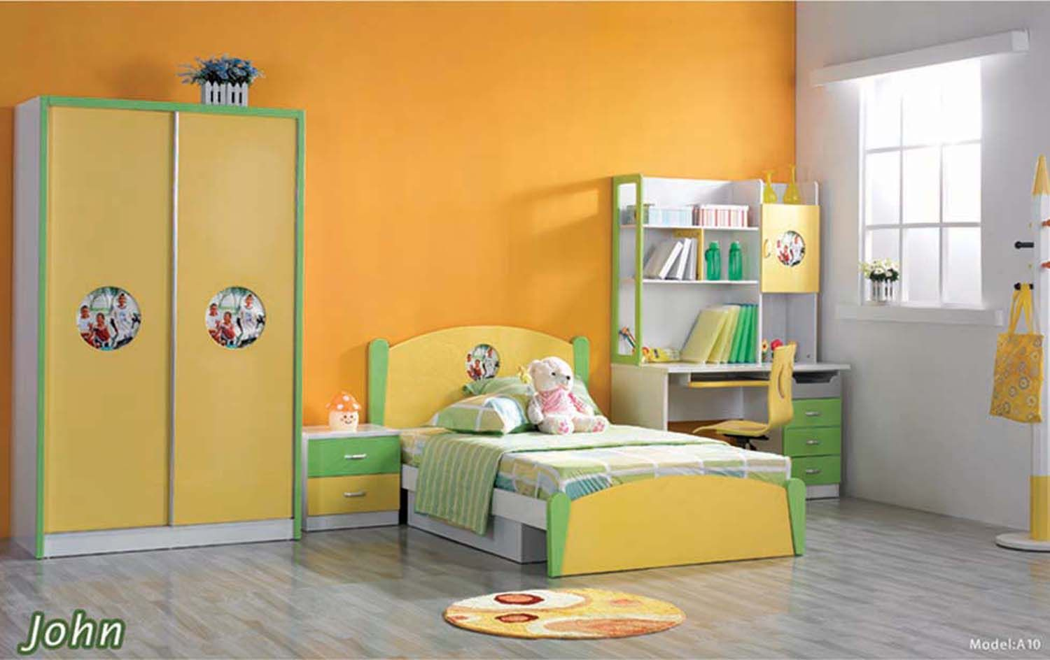 Warm Orange and White Themed Kids Room Paint Ideas with Modern Wood ...