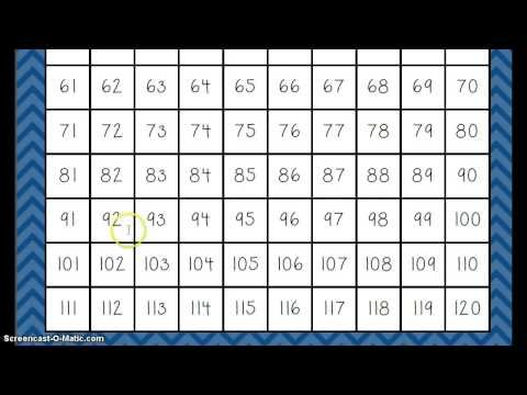 Counting To 120 Song Youtube Printable Numbers Printable Chart Number Chart