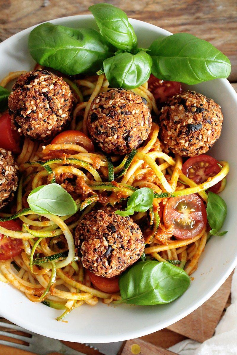 Black Bean Quinoa Balls W Spiralized Zucchini