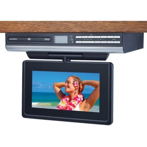 I Am Satisfied With Audiovox Ve927 9 Inch Lcd Drop Down Tv With Built In Dvd Player And Clock Radio Silver It Is M Tv In Kitchen Dvd Player Under Cabinet Tv