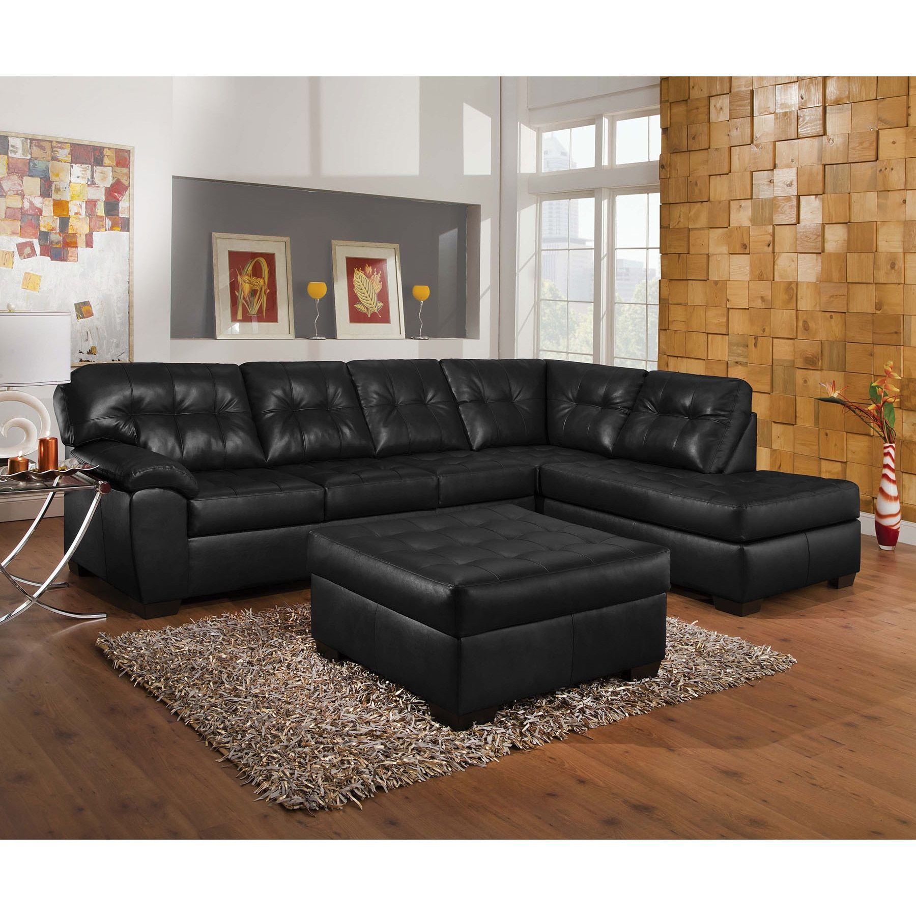 Shikura Onyx Leather Sectional Sofa Set With Ottoman (Black) (Foam)