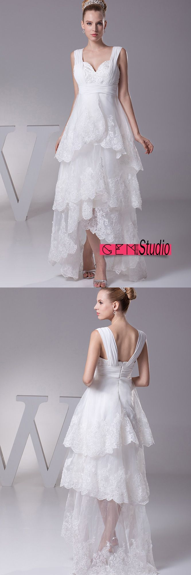 Wedding dress with short front and long back  Gorgeous Short in Front Long in Back Lace Layered Wedding Dress with