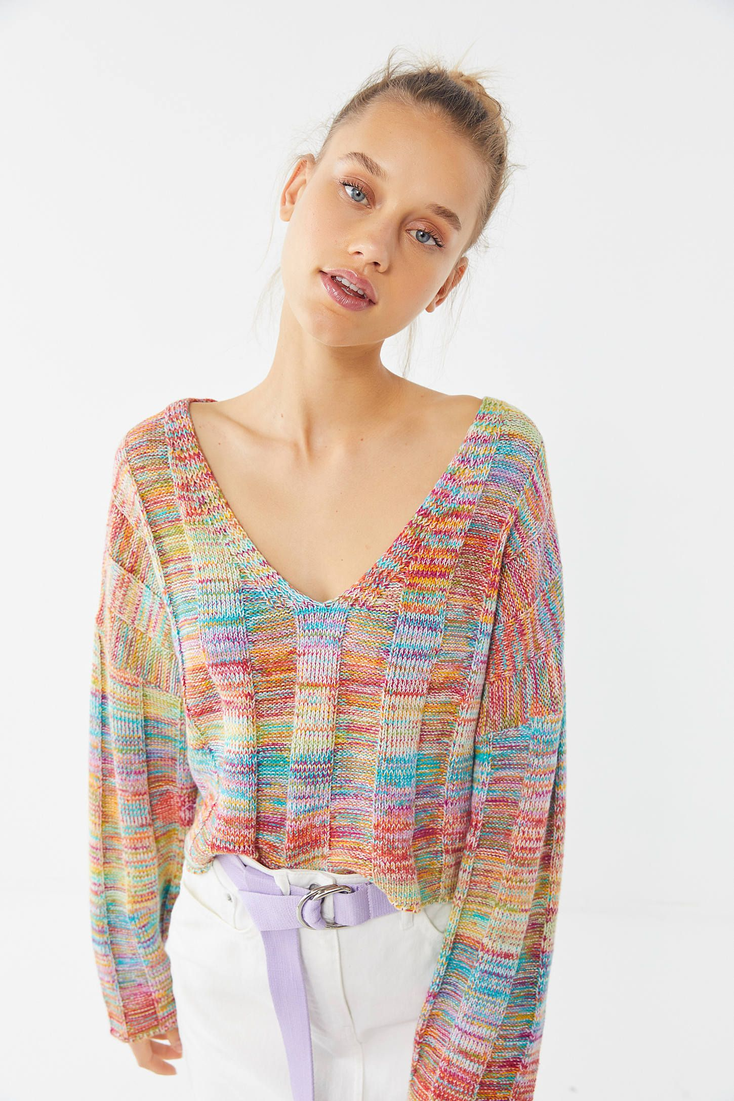 68574fb8da81 UO Micah Rainbow Ribbed V-Neck Sweater in 2019 | >> sweater ...