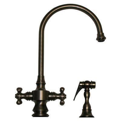 Whitehaus Collection Vintage III Two Dual Handle Single Hole Kitchen Faucet  With Cross Handle And Side