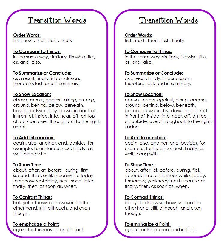 Transition Words Printable – Transition Words Worksheet