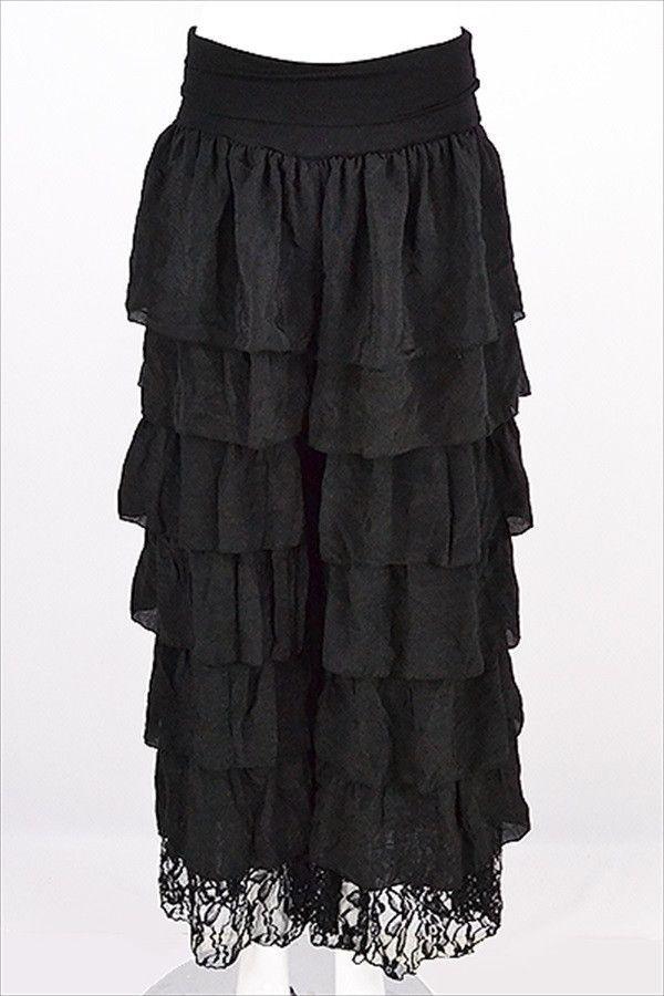 06fc70b12307f Plus Size Palazzo Pants Black Ruffled Layered Lace