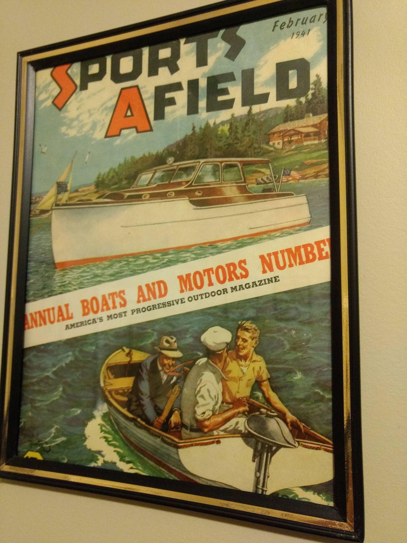 Framed 1941 Vintage Boats Sports Afield Cover Vintage Cabin Decor ...
