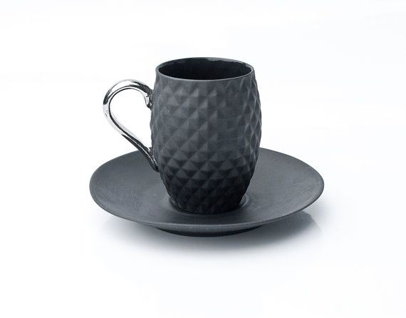 Wouldn't this look fantastic in a kitchen with black stainless appliances? Available on Etsy - Espresso Set - Ceramic Coffee Set #LGLimitlessDesign  #Contest